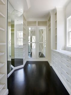 SallyL: Markay Johnson Construction - Beautiful closet with white cabinetry and mirror fronted ...