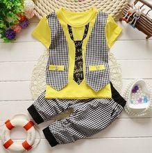 2016Baby Boy christmas outfits Clothes set Toddler Boys summer Clothing Set Gentleman vest T-shirt + Pants Kids Clothing SetMK97(China (Mainland))