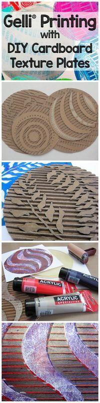 gelli printing - card texture plates, using gelli plate as stamp ....