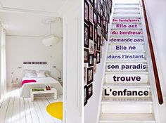 Love the french words on these painted steps.