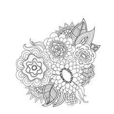 Doodle flores de arte. — Vector de stock