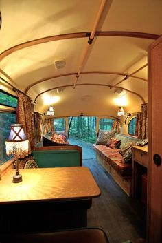 Glamping = Glamorous Camping restored bus into an rv Auto Camping, Camping Hacks, Volkswagen Bus, Airstream, Glamping, Trailer Park, Shasta Trailer, School Bus Camper, School Buses