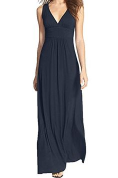 WOOSEA-Women-Sleeveless-Deep-V-Neck-Loose-Plain-Long-Maxi-Casual-Dress