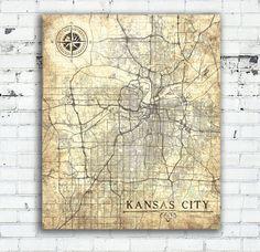 Kansas City Vintage Map Vintage Antique Map Kansas Wall Art Work Print Kansas City Poster Usa Vintage Retro Old Map United States Of America