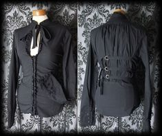 Gothic Black Frilled High Neck GOVERNESS Corset Blouse 12 14 Victorian Vintage - £29.00