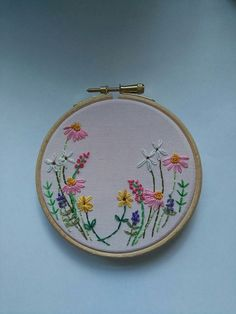 Flower Fields embroidery hoop art by CWEmbroidery on Etsy