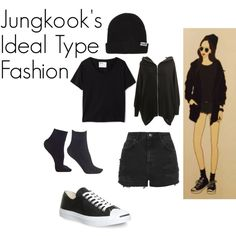 Jungkook's Ideal Type Outfit by kaisper on Polyvore featuring polyvore moda style Margaret Howell Topshop Commando Converse Neff bts jungkook kpopinspired