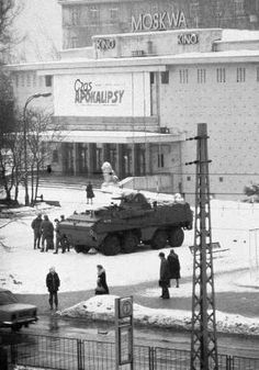 """An SKOT armoured personnel carrier stands in front of the """"Moscow"""" cinema in Warsaw, with a billboard advertising the film """"Apocalypse Now"""" in the background. Photograph taken by Chris Niedenthal a day after the imposition of martial law in Poland, 1 Warsaw Pact, Warsaw Poland, Apocalypse Now Movie, Europe Centrale, Poland History, Poland Travel, Famous Photos, Krakow, Illustrations"""
