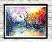 River landscape watercolor  painting print, nature art, watercolor landscape, landscape painting, original watercolor, illustration