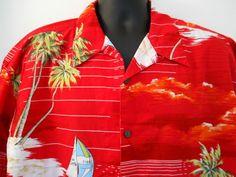 High Sierra Hawaiian Shirt XL Mens Red Sailboats Palm Trees Ocean Clouds Cotton  #HighSierra #Hawaiian