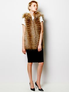Fox Fur Vest, Basic T-shirt and Emotion Skirt / LE CIEL BLEU