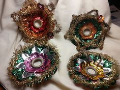vintage german foil star tinsel trim christmas light reflectors lot of 4
