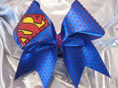 """SUPER"" sparkly cheer bow with 750+ multi size ruby crystals and 3 color glitter/vinyl!"