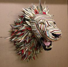Starting from foam mounts that taxidermists use Kelly Rene Jelinek creates Taxidermy Upholstery - life-sized replicas of mounted animal heads with fabric. Sculpture Textile, Soft Sculpture, Textile Art, Lion Sculpture, Recycled Art Projects, Fabric Animals, Faux Taxidermy, Animal Projects, Animal Heads
