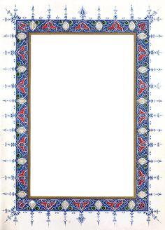 Calligraphy Borders, Islamic Art Calligraphy, Borders For Paper, Borders And Frames, Islamic Art Pattern, Pattern Art, Illuminated Letters, Illuminated Manuscript, Frame Border Design