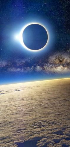 Solar Eclipse as Seen From Earth's Orbit. Source http://www.bt-images.net/clouds/