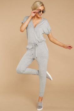 The Heather Grey Wrap Front Jumpsuit Chambray Jumpsuit, Jumpsuit Outfit, Mommy Style, Trendy Clothes For Women, Distressed Skinny Jeans, Stylish Dresses, Lounge Wear, Lounge Outfit, Dress To Impress