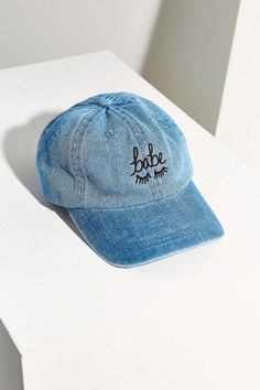 "How cute is this denim ""babe"" baseball cap?"