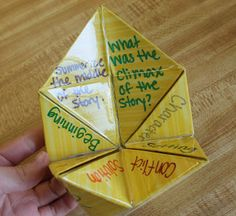 Comprehension #1: Every kid loves playing with these origami fortune tellers.  This is a great way for students to work in pairs and small groups after reading a story to see how well they comprehended what they read. Some of the flaps include things like the beginning, characters, the setting, etc.  Have the students take turns with asking and answering the questions.