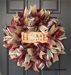 This gorgeous rustic wreath welcomes guest into your home with that burlap and pip berry look. This gorgeous rustic wreath welcomes guest into your home with that burlap and pip berry look. Fall Mesh Wreaths, Deco Mesh Wreaths, Holiday Wreaths, Christmas Decorations, Rustic Wreaths, Country Wreaths, Christmas Swags, Burlap Wreaths, Burlap Christmas
