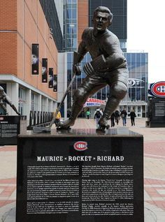 A commemorative statue of Maurice Richard stands outside the Centennial Plaza at the Bell Centre prior to a Montreal Canadiens game on October 2011 in Montreal, Quebec, Canada. Montreal Quebec, Quebec City, Montreal Canadiens, Maurice Richard, Ontario Curriculum, Ottawa Canada, I Love La, Nhl Games, Hockey Players
