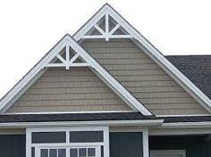 With custom wood columns cedar shakes and victorian for Fypon gable pediments
