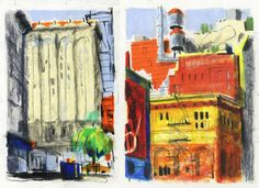 Idir Davaine / New York 1 - 2013 Crayons sur papier Sketchbook Pages, Sketchbook Ideas, Illustrations, Colored Pencils, Sketches, Sketchbooks, Urban, Architecture, Drawings