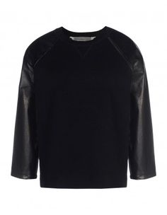 Leather-Paneled Cashmere-Blend Top