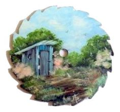 Collectible Mini Spring Round Painted Sawblade Outhouse Left Magnet Order - Paintings