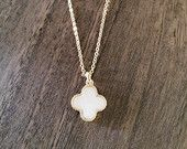 Mother of pearl clover necklace available at https://www.etsy.com/shop/JEMINIshop
