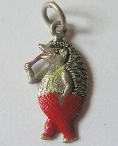 Mr HEDGEHOG Vtg GERMAN SILVER ENAMEL CHARM so cute!