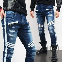 Mens-Distressed-Faded-Washing-Zipper-Pocket-Biker-Blue-Skinny-Jeans-437-GENTLER