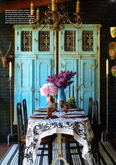 Turquoise Cabinet, Black and White Dining
