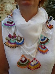 Boho Scarf Shawl White Cotton Voile Square with Hand Crocheted Multicoloured Fan Shaped Turkish Edging
