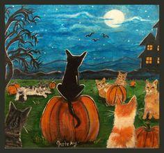 Pumpkin Patch Cats Print by gretzky