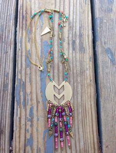 A boho chevron brass and beaded fringe necklace . by JupiterOak