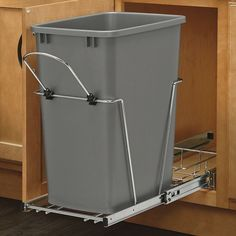 Rev-A-Shelf's waste container units are a perfect way to clear your kitchen of unsightly trash by hiding it inside your cabinet. Made with high quality slides, durable wire construction and you will be ready to trash your freestanding waste container.