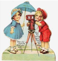Vintage Valentine boy w/old time camera.