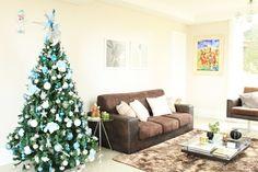 Minha decoração de Natal com detalhes da árvore azul e prata