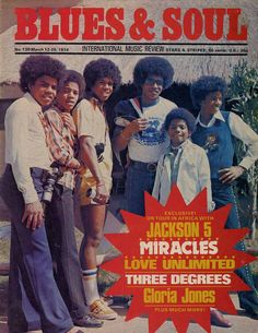 """The Jacksons Brothers on the """"Blues and  Soul"""" Cover - March 1974 (L-R Tito Jackson, Marlon Jackson, Jermaine Jackson, Jackie Jackson, Randy Jackson, and Michael Jackson.)"""