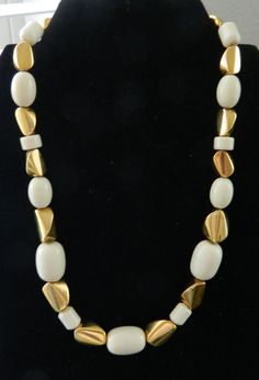 Beautiful Napier Gold and Cream Beads Necklace by COLLECTORSCENTER on Etsy