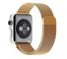 Apple Watch Band, Pandawell™ Milanese Loop Gold Stainless Steel Replacement Watchband Strap Wrist Band with Adapter for 38mm Apple Watch & Sport & Edition (38mm-Gold) Pandawell