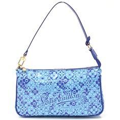 Louis Vuitton Limited Edition Blue Vinyl Cosmic Blossom Pochette Handbag - $479.99