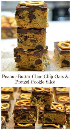 Peanut Butter Choc Chip Oats and Pretzel Cookie Slice from pinkpostitnote.com Pretzel Cookies, Quick Cookies, Easy Desserts, Delicious Desserts, Easy Slice, Baking Recipes, Fast Recipes, Lunch Box Recipes, Chocolate Desserts