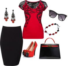 """""""Red and Black outfit"""" by Lori Martinez on Polyvore I would feel like a Matador in this, but I love it!"""