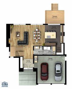 Manhattan - Maison neuve à deux étages de type cottage Two Story House Plans, Two Story Homes, Small House Plans, Beautiful House Plans, Beautiful Homes, Atrium House, Modern House Floor Plans, Villa Plan, Tiny Living