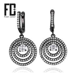 fashion design black gold 925 sterling silver drop earrings vintage brand charm jewellery