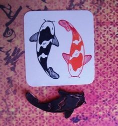 koi hand carved rubber stamp. $10.00, via Etsy.