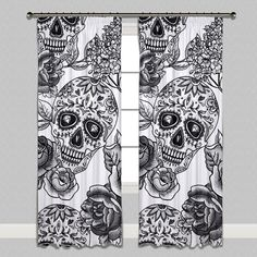 Signature White Sugar Skull Curtains or Sheers