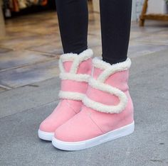 Hot Womens Round Toe Thicken Warm Winter Snow Ankle Boots Hidden Heel Shoes H280